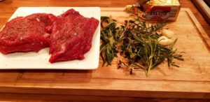 Skirt steak with thyme, rosemary, garlic, butter
