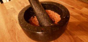 crushing all seasoning ingredients